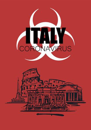 Red hand drawn illustration of Italy with a sign of coronavirus infection.  イラスト・ベクター素材