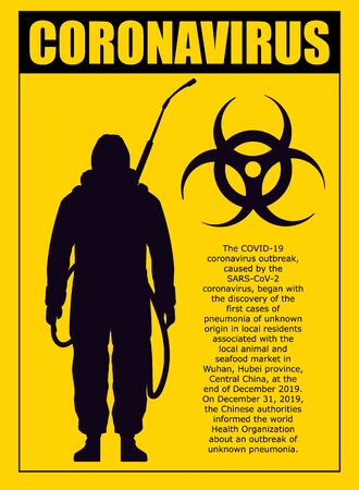 A yellow warning poster about the coronavirus with the silhouette of a man in chemical protection. Coronavirus vector illustration.