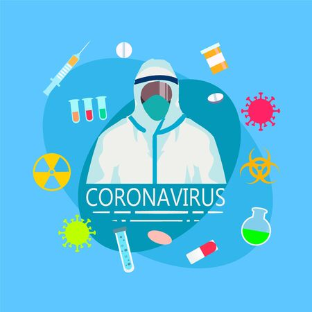 Blue coronavirus medical illustration with a man in chemical protection and elements . Coronavirus vector illustration.