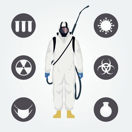 A man in white anti-virus chemical protection and a set of coronavirus icons. Flat vector illustration.