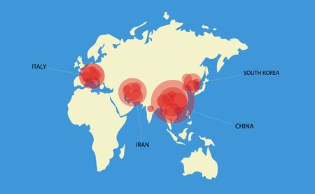 Vector map of the world with the main centers of the coronavirus epidemic illustration