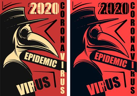 The red poster of the epidemic of the coronavirus. Image of a plague doctor on a vector illustration of a coronavirus.
