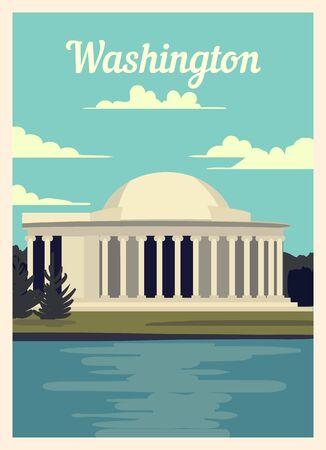 Retro poster Washington city skyline. vintage, Washington vector illustration. Stock Illustratie
