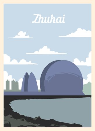 Retro poster Zhuhai city skyline. vintage, Zhuhai vector illustration.