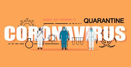 White lettering Coronavirus on an orange background with characters in chemical protection and elements. Coronavirus vector banner.