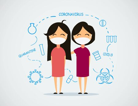 Two Chinese little girls with coronaviruses surrounded by painted elements. Coronavirus vector illustration.