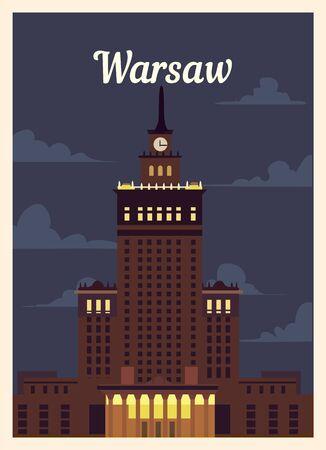 Retro poster Warsaw city skyline. vintage, Warsaw vector illustration.