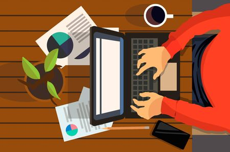 A man working on a laptop top view. Vector flat illustration of the work.