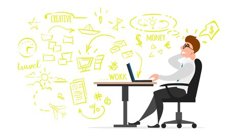 The creative Director reflects on the business. Vector flat illustration, a man sitting in a chair at a laptop and thinking about a project.
