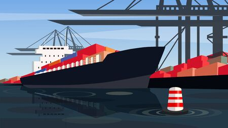 Cargo cranes load containers into the transport vessel. Vector illustration of a ship in the docks.