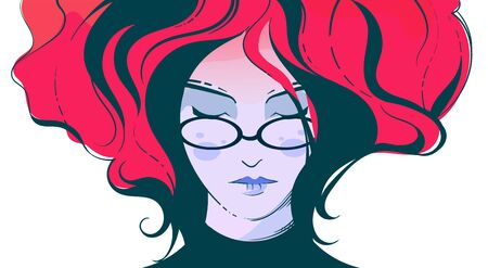 Fashion illustration of a girl with glasses with billowing red hair. Girl face vector illustration.