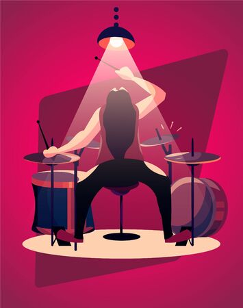 A drummer with long black hair plays heavy music. Lamp light shines from above on the drummer cartoon vector illustration.