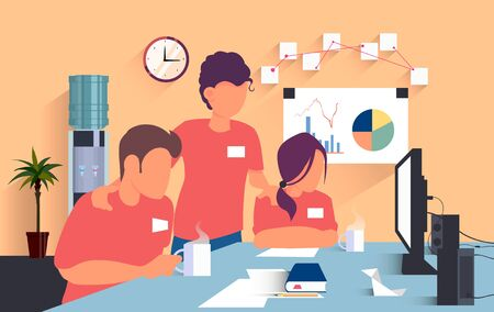 Flat workers in red t-shirts work in the office and solve a joint task in front of a computer, a Bush and a toggle switch with water on the background. Vector illustration of office work.