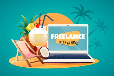 Laptop labeled freelance on a sandy beach with a sunbed, fruit, pina colada, sun and palm trees. Vector illustration of free freelance work.