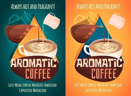 A set of coffee shop advertising banners. The teapot pours coffee into a Cup with a heart-shaped foam pattern. Vector cartoon style illustration.