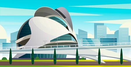City of arts and Sciences in Valencia. Vector cartoon illustration of a futuristic city.  イラスト・ベクター素材