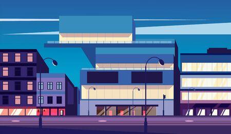 Cartoon street of the night city. Night street vector illustration.