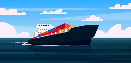 A cargo ship is carrying containers with goods. Merchant ship vector cartoon illustration.  イラスト・ベクター素材