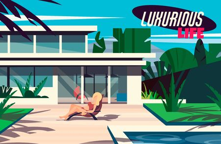 A young girl is sunbathing on a sunbed in a modern house with a swimming pool. Illustration of a luxurious and rich life.