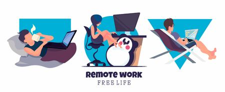 Flat set of freelancers working at home. A girl at a computer, a guy at a work project in bed, a man with a laptop on a chaise longue. Vector illustration of freelancing.  イラスト・ベクター素材