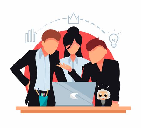 Flat business people working together to solve a task in the laptop. Employees in strict dress code suits. Creative team vector illustration.  イラスト・ベクター素材