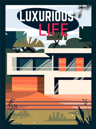 Country modern house. Cartoon vector illustration of luxury life style