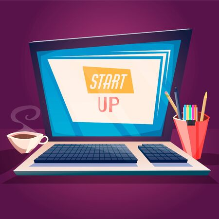 Laptop with a Cup of coffee on the table with the inscription start up. Vector cartoon illustration of a startup.  イラスト・ベクター素材