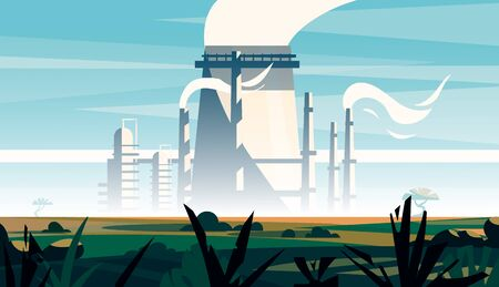 Factory landscape in an open field.Environmental pollution. Cartoon vector illustration of a factory