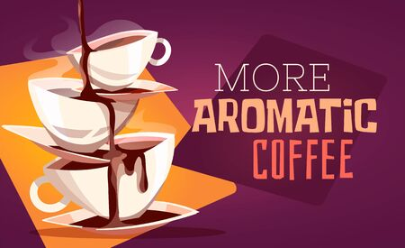Fragrant coffee spills from the pyramid of cups. Cups one on top of the other cartoon vector illustration.