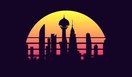 Futuristic sci-fi city in retro wave 80s style. Vector illustration night city.