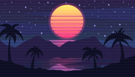 Retro wave landscape with palm trees, mountains and sea. Vector illustration in the style of 80's retro wave.