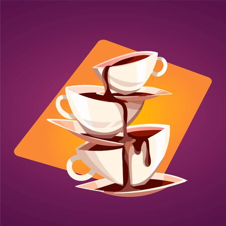Hot aromatic coffee pours into the pyramid from the cups. Vector cartoon illustration for coffee shops.  イラスト・ベクター素材