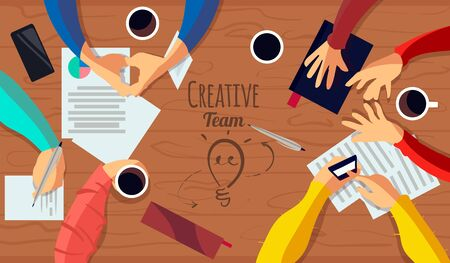 The creative team, the negotiating table is the top view. Flat vector illustration of the creative team.