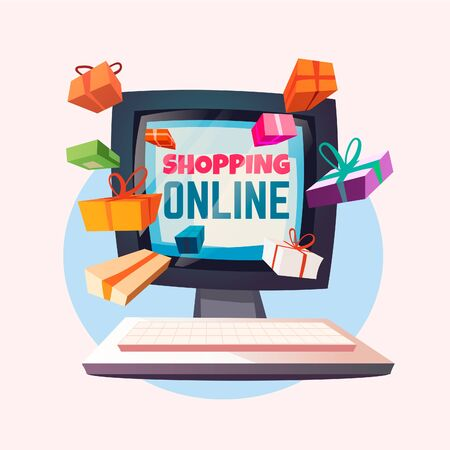 Gifts fly out of the computer screen. Vector cartoon illustration of online shopping.