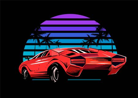 Red sports car on the background of a striped retro wave of the sun. Vector illustration in the style of the 80s.