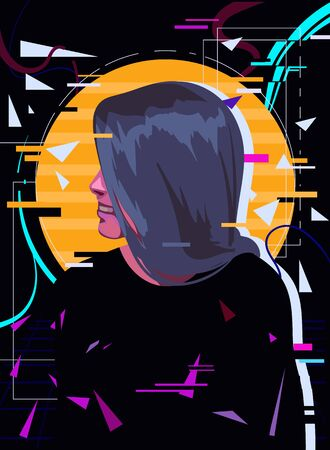 Happy girl in retro wave style with glitch effect. Retrowave vector illustration in the style of the 80s.