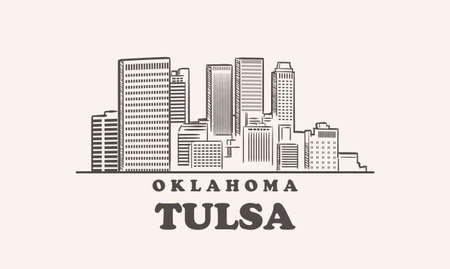 Tulsa skyline, oklahoma hand drawn sketch illustration