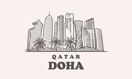 Doha skyline, quatar drawn sketch