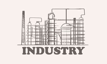 Industrial oil plant, sketch hand drawn