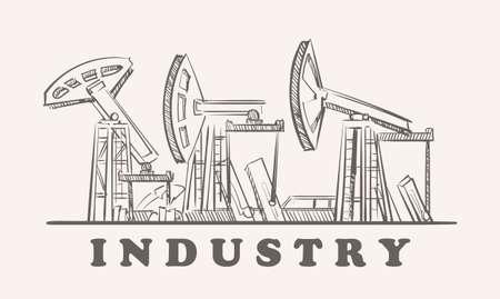 Industrial oil rigs, hand drawn sketch