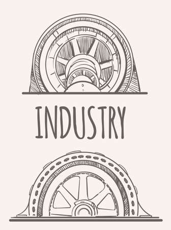 Industrial factory machines, hand drawn