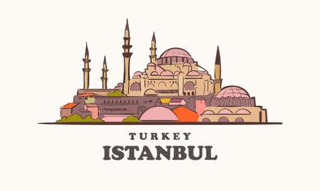 Istanbul skyline, turkey drawn sketch