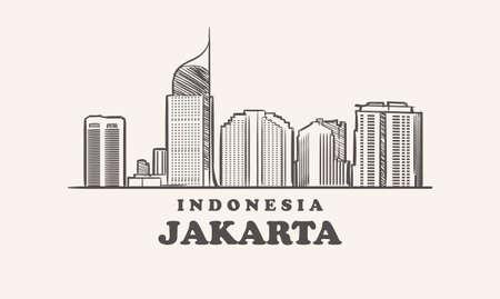 Jakarta skyline, indonesia drawn sketch 矢量图像