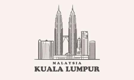 Kuala Lumpur skyline, malaysia drawn sketch
