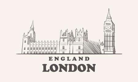 London skyline, england drawn sketch 向量圖像