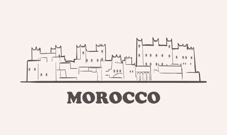 Morocco skyline, hand drawn sketch