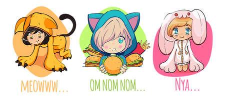 Kawaii cute anime girls set