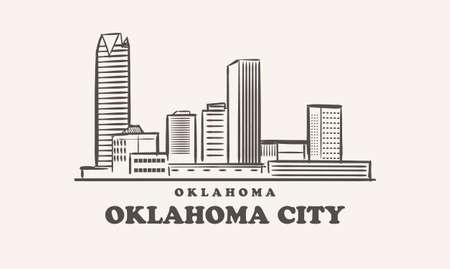 Oklahoma City skyline, oklahoma sketch 矢量图像