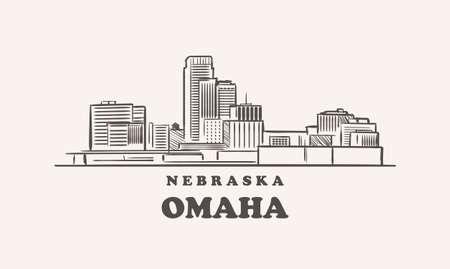 Omaha skyline, nebraska drawn sketch