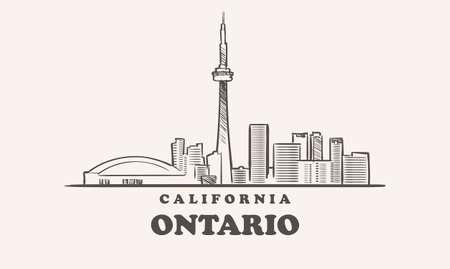 Ontario skyline, california drawn sketch